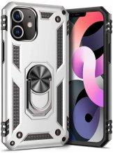 Apple iPhone 12 (6.1) Kılıf Shockproof Military Yüzüklü Standlı Vega Tank Kapak - Gümüş