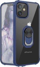 Apple iPhone 12 (6.1) Kılıf Standlı Arkası Şeffaf Kenarları Airbag Kapak - Lacivert
