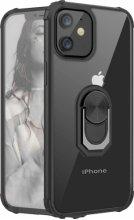 Apple iPhone 12 (6.1) Kılıf Standlı Arkası Şeffaf Kenarları Airbag Kapak - Siyah
