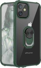 Apple iPhone 12 (6.1) Kılıf Standlı Arkası Şeffaf Kenarları Airbag Kapak - Yeşil