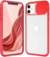 Apple iPhone 12 (6.1) Kılıf Sürgülü Kamera Lens Korumalı Silikon Kapak - Kırmızı