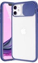 Apple iPhone 12 (6.1) Kılıf Sürgülü Kamera Lens Korumalı Silikon Kapak - Lacivert