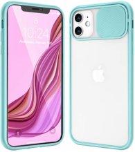 Apple iPhone 12 (6.1) Kılıf Sürgülü Kamera Lens Korumalı Silikon Kapak - Turkuaz