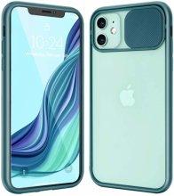 Apple iPhone 12 (6.1) Kılıf Sürgülü Kamera Lens Korumalı Silikon Kapak - Yeşil