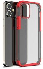Apple iPhone 12 (6.1) Kılıf Volks Serisi Kenarları Silikon Arkası Şeffaf Sert Kapak - Kırmızı