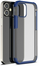 Apple iPhone 12 (6.1) Kılıf Volks Serisi Kenarları Silikon Arkası Şeffaf Sert Kapak - Lacivert