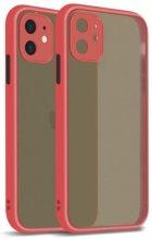 Apple iPhone 12 Mini (5.4) Kılıf Kamera Korumalı Arkası Şeffaf Mat Silikon Kapak - Kırmızı