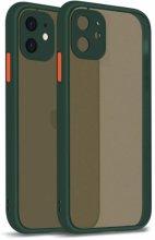 Apple iPhone 12 Mini (5.4) Kılıf Kamera Korumalı Arkası Şeffaf Mat Silikon Kapak - Koyu Yeşil