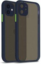 Apple iPhone 12 Mini (5.4) Kılıf Kamera Korumalı Arkası Şeffaf Mat Silikon Kapak - Lacivert