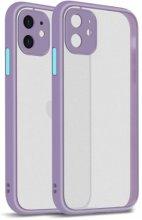 Apple iPhone 12 Mini (5.4) Kılıf Kamera Korumalı Arkası Şeffaf Mat Silikon Kapak - Lila