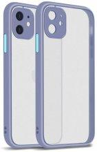 Apple iPhone 12 Mini (5.4) Kılıf Kamera Korumalı Arkası Şeffaf Mat Silikon Kapak - Mor