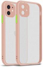 Apple iPhone 12 Mini (5.4) Kılıf Kamera Korumalı Arkası Şeffaf Mat Silikon Kapak - Pembe