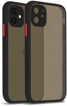 Apple iPhone 12 Mini (5.4) Kılıf Kamera Korumalı Arkası Şeffaf Mat Silikon Kapak - Siyah