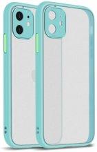 Apple iPhone 12 Mini (5.4) Kılıf Kamera Korumalı Arkası Şeffaf Mat Silikon Kapak - Turkuaz