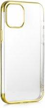 Apple iPhone 12 Mini (5.4) Kılıf Renkli Köşeli Lazer Şeffaf Esnek Silikon - Gold