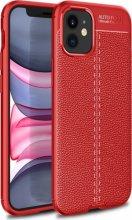 Apple iPhone 12 Mini (5.4) Kılıf Rugan Serisi Silikon Deri Görünümlü Parmak İzi Bırakmaz - Kırmızı