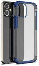Apple iPhone 12 Mini (5.4) Kılıf Volks Serisi Kenarları Silikon Arkası Şeffaf Sert Kapak - Lacivert