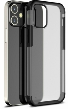 Apple iPhone 12 Mini (5.4) Kılıf Volks Serisi Kenarları Silikon Arkası Şeffaf Sert Kapak - Siyah