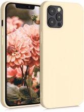 Apple iPhone 12 Pro (6.1) Kılıf İnce Mat Esnek Silikon - Gold