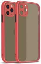 Apple iPhone 12 Pro (6.1) Kılıf Kamera Korumalı Arkası Şeffaf Mat Silikon Kapak - Kırmızı