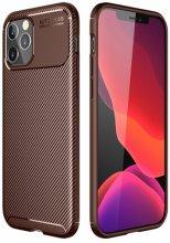 Apple iPhone 12 Pro (6.1) Kılıf Karbon Serisi Mat Fiber Silikon Kapak - Kahverengi