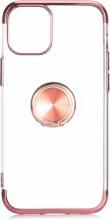 Apple iPhone 12 Pro (6.1) Kılıf Renkli Köşeli Yüzüklü Standlı Lazer Şeffaf Esnek Silikon - Rose Gold