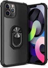 Apple iPhone 12 Pro (6.1) Kılıf Standlı Arkası Şeffaf Kenarları Airbag Kapak - Siyah