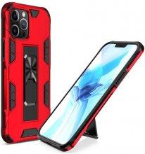 Apple iPhone 12 Pro (6.1) Kılıf Standlı Mıknatıslı Silikon Volve Kapak - Kırmızı