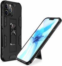 Apple iPhone 12 Pro (6.1) Kılıf Standlı Mıknatıslı Silikon Volve Kapak - Siyah