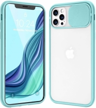 Apple iPhone 12 Pro (6.1) Kılıf Sürgülü Kamera Lens Korumalı Silikon Kapak - Turkuaz
