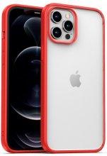 Apple iPhone 12 Pro Max (6.7) Kılıf Arkası Cam Kenarları Silikon Hom Kapak - Kırmızı