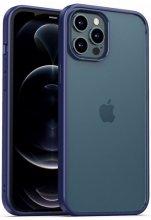Apple iPhone 12 Pro Max (6.7) Kılıf Arkası Cam Kenarları Silikon Hom Kapak - Mor