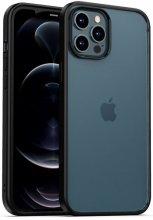 Apple iPhone 12 Pro Max (6.7) Kılıf Arkası Cam Kenarları Silikon Hom Kapak - Siyah