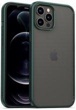 Apple iPhone 12 Pro Max (6.7) Kılıf Arkası Cam Kenarları Silikon Hom Kapak - Yeşil