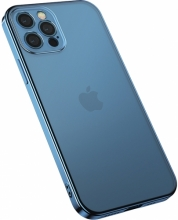 Apple iPhone 12 Pro Max (6.7) Kılıf Benks Silikon Mat Electroplated 1.2mm Kapak - Mavi