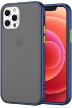 Apple iPhone 12 Pro Max (6.7) Kılıf Exlusive Arkası Mat Tam Koruma Darbe Emici - Mavi