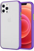 Apple iPhone 12 Pro Max (6.7) Kılıf Exlusive Arkası Mat Tam Koruma Darbe Emici - Mor