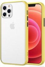 Apple iPhone 12 Pro Max (6.7) Kılıf Exlusive Arkası Mat Tam Koruma Darbe Emici - Sarı