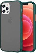 Apple iPhone 12 Pro Max (6.7) Kılıf Exlusive Arkası Mat Tam Koruma Darbe Emici - Yeşil
