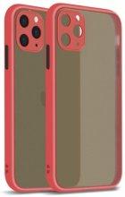 Apple iPhone 12 Pro Max (6.7) Kılıf Kamera Korumalı Arkası Şeffaf Mat Silikon Kapak - Kırmızı