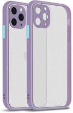 Apple iPhone 12 Pro Max (6.7) Kılıf Kamera Korumalı Arkası Şeffaf Mat Silikon Kapak - Mor