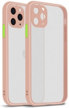 Apple iPhone 12 Pro Max (6.7) Kılıf Kamera Korumalı Arkası Şeffaf Mat Silikon Kapak - Pembe
