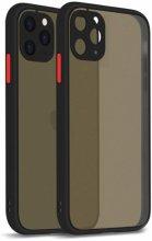 Apple iPhone 12 Pro Max (6.7) Kılıf Kamera Korumalı Arkası Şeffaf Mat Silikon Kapak - Siyah