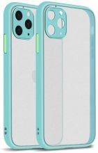 Apple iPhone 12 Pro Max (6.7) Kılıf Kamera Korumalı Arkası Şeffaf Mat Silikon Kapak - Turkuaz