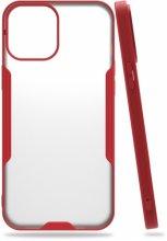 Apple iPhone 12 Pro Max (6.7) Kılıf Kamera Lens Korumalı Arkası Şeffaf Silikon Kapak - Kırmızı