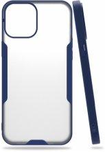 Apple iPhone 12 Pro Max (6.7) Kılıf Kamera Lens Korumalı Arkası Şeffaf Silikon Kapak - Lacivert