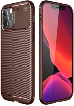 Apple iPhone 12 Pro Max (6.7) Kılıf Karbon Serisi Mat Fiber Silikon Kapak - Kahverengi
