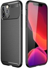 Apple iPhone 12 Pro Max (6.7) Kılıf Karbon Serisi Mat Fiber Silikon Kapak - Siyah