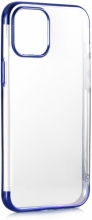 Apple iPhone 12 Pro Max (6.7) Kılıf Renkli Köşeli Lazer Şeffaf Esnek Silikon - Mavi