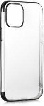 Apple iPhone 12 Pro Max (6.7) Kılıf Renkli Köşeli Lazer Şeffaf Esnek Silikon - Siyah
